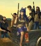 1girl 4boys amibazh anklet assault_rifle bangle barefoot blue_bow blue_eyes blue_hair blue_skirt bow box bracelet bulletproof_vest cactus covered_mouth damaged dark-skinned_male dark_skin day denim desert faux_traditional_media fine_art_parody glasses grey_hoodie ground_vehicle gun hair_bow heavy_machine_gun hood hoodie jeans jewelry long_hair machine_gun motor_vehicle multiple_boys ofuda ofuda_on_clothes outdoors pants parody rifle sand short_hair simple_background skirt sunglasses tagme touhou truck weapon white_background wooden_box yellow_sky yorigami_shion