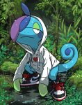 black_eyes closed_mouth clothed_pokemon commentary_request dripping drizzile frown full_body hood hood_up hoodie long_sleeves looking_to_the_side pokemon pokemon_(creature) rem_(artist) shoes sneakers solo spread_legs squatting twitter_username wet white_hoodie