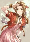 1girl aerith_gainsborough bracelet brown_hair cowboy_shot cropped_jacket dress final_fantasy final_fantasy_vii green_eyes grin highres hiro_ohtaki jacket jewelry looking_at_viewer pink_dress red_jacket salute smile solo