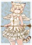 1girl absurdres angel angel_costume angel_wings animal_ears animal_print bare_shoulders blonde_hair blush bow bowtie brown_hair cat_ears cat_girl cat_print cat_tail commentary_request cowboy_shot extra_ears fake_halo frilled_skirt frills gold_trim green_eyes highres kemono_friends kemono_friends_3 looking_at_viewer multicolored_hair official_alternate_costume print_neckwear sand_cat_(kemono_friends) shirt short_hair skirt sleeveless solo tail thigh_strap toriny wand white_shirt white_skirt wings