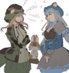 >_< 3girls african_rock_python_(kemono_friends) alenka animal_ears bangs bow bowtie brown_hair capelet closed_eyes crossed_arms dhole_(kemono_friends) dog_ears dog_tail drawstring dress eyebrows_visible_through_hair facing_another gloves grey_hair half-closed_eyes hands_up hat heart hood hood_up hooded_jacket jacket kemono_friends kemono_friends_3 komodo_dragon_(kemono_friends) lizard_tail long_hair long_sleeves looking_at_another multicolored_hair multiple_girls own_hands_together print_jacket shaded_face shirt sketch skirt sleeveless sleeveless_shirt smile snake_print snake_tail tail twintails two-tone_hair v_arms very_long_hair