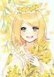 bangs blonde_hair blurry blurry_background blush bow collar collarbone eyebrows_visible_through_hair floral_background floral_print flower frilled_collar frills green_eyes hair_bow hinata_(princess_apple) holding holding_flower kagamine_rin long_sleeves looking_at_viewer open_mouth pollen sailor_collar sketch smile swept_bangs vocaloid yellow_flower