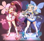 2girls alternate_costume anchor asakaze_(kancolle) blue_background blue_bow blue_choker blue_eyes blue_skirt blush boots bow choker cosplay cure_blossom cure_blossom_(cosplay) cure_marine cure_marine_(cosplay) dated dress eyebrows_visible_through_hair floral_background forehead full_body gift gradient gradient_background hair_bow hair_ornament heartcatch_precure! high_heel_boots high_heels high_ponytail highres kamikaze_(kancolle) kantai_collection kneehighs light_brown_hair long_hair magical_girl moke_ro multiple_girls open_mouth outstretched_arm pink_background pink_choker pink_dress precure purple_bow purple_footwear purple_hair short_sleeves skirt smile thigh-highs twitter_username very_long_hair violet_eyes wavy_hair white_dress white_legwear