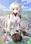 1girl absurdres ahoge arm_support blue_sky breasts expressionless fate/grand_order fate/prototype fate_(series) field fingerless_gloves flower flower_field gloves hair_intakes hand_on_lap highres hill hwa_n01 large_breasts looking_at_viewer merlin_(fate/prototype) pantyhose petals short_hair sitting sky solo violet_eyes wariza white_hair wide_sleeves