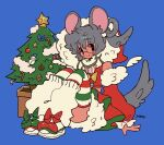 1girl animal_ears blue_background candy candy_cane christmas_tree eyebrows_visible_through_hair food gingerbread_man grey_hair highres hood hood_up knees_up looking_at_viewer mouse_ears original short_hair simple_background smile snowman solo soreeyu_(sore-yu) tail
