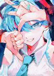 1girl arms_up bangs blue_eyes blue_hair blue_nails blue_neckwear blush collared_shirt commentary_request hatsune_miku highres looking_at_viewer necktie open_mouth shirt sion001250 smile solo teeth thumbs_down upper_body vocaloid w