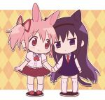 1gsrgnk 2girls akemi_homura alternate_costume animal_ears blush bow bowtie cat_ears chibi eye_contact eyebrows_visible_through_hair full_body hair_ribbon hairband head_tilt highres holding_hands kaname_madoka long_hair looking_at_another looking_to_the_side mahou_shoujo_madoka_magica multicolored multicolored_background multiple_girls outstretched_arms ribbon skirt smile thigh-highs twintails white_background white_legwear