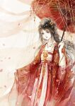 1girl black_hair brooch chain china_dress chinese_clothes dress hair_ornament hanfu highres holding holding_umbrella jewelry long_hair long_sleeves necklace original pearl_(gemstone) petals qingming red_dress red_lips see-through_sleeves silk sleeves_past_wrists solo transparent umbrella