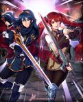 2girls armor blue_eyes blue_hair blue_legwear boots brown_legwear falchion_(fire_emblem) fingerless_gloves fire_emblem fire_emblem_awakening gloves greaves highres knee_boots leather_armor long_hair looking_at_viewer lucina_(fire_emblem) multiple_girls red_eyes redhead severa_(fire_emblem) sparkartworks sword twintails weapon
