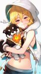1girl alex_(dragalia_lost) animal anniversary bangs bare_arms bare_shoulders black_choker black_gloves blonde_hair blush choker closed_mouth copyright_name cowboy_shot dog dragalia_lost flower gloves gradient gradient_background hair_between_eyes hibiscus highres holding holding_animal holding_dog hood hood_up hooded_vest hoodie long_hair looking_at_viewer mouth_hold nakabayashi_zun navel orange_flower red_eyes signature sleeveless smile solo vest white_background white_vest
