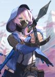 1girl aiming_at_viewer arknights black_mask black_shorts blue_eyes blue_jacket blue_poison_(arknights) brown_bag building commentary_request covered_mouth cowboy_shot crossbow from_below highres holding holding_crossbow holding_weapon hood hood_up hooded_jacket jacket long_hair looking_at_viewer low_twintails mask mouth_mask outdoors pink_hair pouch rocket_launcher roco_(rocoroco1115) rpg shirt shorts skyscraper solo twintails vial weapon weapon_on_back white_shirt