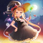 1girl alternate_costume brown_hair candy commentary food full_moon hair_rings hat highres horse_girl jewel_(umamusume) low_twintails moon nekomu night ribbon smile solo sweep_tosho_(umamusume) twintails umamusume violet_eyes wand wings witch_hat