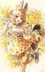 1girl :d absurdres animal_ear_fluff animal_ears animal_print bangs bare_shoulders blonde_hair blush boots bow bowtie breasts cat_ears cat_girl cat_tail center_frills commentary_request elbow_gloves eyebrows_visible_through_hair foot_out_of_frame frills gloves high-waist_skirt highres kemono_friends looking_at_viewer medium_breasts mirage_(rairudiseu) open_mouth print_gloves print_legwear print_neckwear print_skirt serval_(kemono_friends) serval_print shirt short_hair skirt sleeveless smile solo standing standing_on_one_leg tail thigh-highs v white_footwear white_shirt yellow_eyes zettai_ryouiki