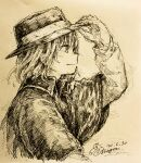 1girl black_headwear capelet closed_mouth fedora hat highres holding holding_clothes holding_hat j-dragon long_sleeves monochrome short_hair signature smile touhou traditional_media usami_renko