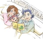 1girl 2boys blue_eyes blush blush_stickers book brown_hair bulbasaur camille_(pokemon) character_print closed_mouth commentary_request eyelashes family goh_(pokemon) grey_hair grey_shirt halta_(pokemon) holding holding_book indoors long_sleeves matsuno_opa multiple_boys open_mouth pillow pink_shirt pokemon pokemon_(anime) pokemon_swsh_(anime) reading shirt short_hair smile tissue_box tongue under_covers