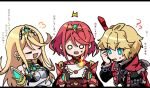 1boy 2girls ahoge bangs bare_shoulders blonde_hair blue_eyes breasts chest_jewel chibi closed_eyes commentary_request crossed_arms dress earrings elbow_gloves gloves headpiece jewelry long_hair long_sleeves monado mugimugis multiple_boys mythra_(massive_melee)_(xenoblade) mythra_(xenoblade) open_mouth pyra_(xenoblade) redhead short_hair shulk_(xenoblade) simple_background smash_invitation smile super_smash_bros. swept_bangs sword tiara upper_body very_long_hair vest weapon white_dress xenoblade_chronicles xenoblade_chronicles_(series) xenoblade_chronicles_2 yellow_eyes
