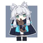 1girl animal_ear_fluff animal_ears arknights ascot black_gloves black_jacket cat_ears cat_girl chibi closed_mouth eyebrows_visible_through_hair full_body gloves green_eyes hair_between_eyes holding holding_stuffed_toy jacket no_mouth rosmontis_(arknights) sidelocks simple_background solo someyaya standing stuffed_animal stuffed_bunny stuffed_toy white_hair
