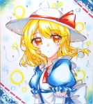1girl artist_request ascot blonde_hair blue_dress bow dress elbow_gloves eyebrows_visible_through_hair eyelashes gloves hat hat_bow highres looking_at_viewer orange_eyes puffy_short_sleeves puffy_sleeves red_bow red_neckwear ribbon short_sleeves touhou touhou_(pc-98) traditional_media wavy_hair