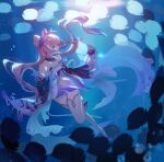 1girl bangs bare_shoulders blue_hair bow commentary_request detached_collar detached_sleeves dress eyebrows_visible_through_hair fish freediving full_body genshin_impact gloves gradient_hair hand_up highres long_hair long_sleeves looking_at_animal multicolored_hair pink_hair purple_bow sandals sangonomiya_kokomi solo thigh-highs twintails underwater very_long_hair violet_eyes white_gloves white_legwear wide_sleeves ziyue