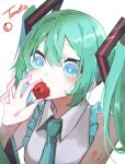 1girl absurdres aqua_hair arm_tattoo bare_shoulders blue_eyes blue_neckwear blush bright_pupils collared_shirt commentary_request detached_sleeves english_text food frills grey_shirt hatsune_miku highres holding holding_food long_hair long_sleeves looking_at_viewer necktie number_tattoo shirt solo tattoo tomato twintails upper_body vocaloid yukihira_makoto