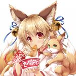 1girl animal_ear_fluff animal_ears bell blonde_hair blush chopsticks commentary_request eating eyebrows_visible_through_hair fox fox_ears fox_girl fox_tail green_eyes hair_bell hair_between_eyes hair_ornament highres holding holding_chopsticks japanese_clothes jingle_bell kimono kitsune_udon looking_at_viewer miko minase_(dragon_panda) original red_eyes simple_background tail white_background white_kimono