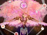 2girls akemi_homura angel_wings black_hair cherry_blossoms highres holding_hands homulilly kaname_madoka l-blanca long_hair looking_at_another magical_girl mahou_shoujo_madoka_magica mahou_shoujo_madoka_magica_movie multiple_girls pink_hair twintails wings yuri