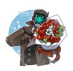 1boy blue_eyes bouquet brown_coat coat colored_sclera flower holding humanoid_robot jacket joints kelbel korean_commentary korean_text looking_at_viewer male_focus necktie neckwear one-eyed open_clothes open_coat red_flower red_neckwear red_rose regis_(world_flipper) ribbon robot robot_joints rose simple_background solo trench_coat white_flower world_flipper