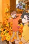 2girls absurdres alternate_costume bangs black_hair blush brown_eyes brown_hair brown_pants cellphone closed_mouth commentary_request double_w eyelashes flower gloria_(pokemon) grey_footwear hands_up highres holding holding_phone looking_back marnie_(pokemon) multiple_girls nai_gai_hongcha orange_flower orange_legwear orange_sweater pants phone photo_background pigeon-toed pokemon pokemon_(game) pokemon_swsh shoes short_hair smile socks standing sweater w yellow_flower