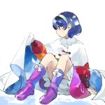 1girl bloomers blue_eyes blue_hair boots bow cape cloak dress frills kaigen_1025 multicolored multicolored_clothes multicolored_hairband patchwork_clothes pink_footwear rainbow_gradient red_button short_hair simple_background sitting sky_print tattered_cape tenkyuu_chimata touhou two-sided_cape two-sided_fabric underwear white_background white_bow white_cape white_cloak zipper