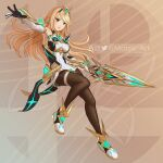 1girl artist_name artist_request blonde_hair breasts dress earrings elbow_gloves gem gloves glowing hair_ornament headpiece holding holding_sword holding_weapon jewelry large_breasts logo looking_at_viewer mythra_(massive_melee)_(xenoblade) mythra_(xenoblade) open_mouth pantyhose pose smile solo sword thigh_strap thighs tiara watermark weapon xenoblade_chronicles_(series) xenoblade_chronicles_2 yellow_eyes