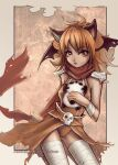 1girl alternate_color animal_ears armor assassin_cross_(ragnarok_online) bangs black_wings breasts brown_cape brown_eyes brown_hair brown_leotard cape cat_ears commentary cowboy_shot demon_wings ekaterina_orange english_commentary eyebrows_visible_through_hair head_wings leg_wrap leotard long_hair looking_at_viewer medium_breasts open_mouth outside_border pauldrons photoshop_(medium) ragnarok_online red_scarf scarf shoulder_armor skull solo stuffed_animal stuffed_panda stuffed_toy torn_cape torn_clothes torn_scarf waist_cape watermark web_address wings