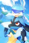 alopias arms_up artist_name blue_sky blurry blush bokeh carrying carrying_over_shoulder closed_eyes closed_mouth clouds depth_of_field glaceon leaves_in_wind lucario no_humans on_shoulder open_mouth pokemon pokemon_(creature) red_eyes sky smile upper_body