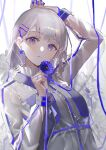 1girl absurdres arm_up bangs blue_eyes blue_nails blue_ribbon blush breasts closed_mouth commentary dress earrings eyebrows_visible_through_hair flower frills grey_hair hair_ornament hairclip hand_up highres holding holding_flower holding_ribbon jacket jewelry looking_at_viewer medium_hair original oyuyu ribbon see-through see-through_jacket see-through_sleeves small_breasts solo upper_body white_dress