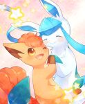 :d alopias closed_eyes closed_mouth fluffy glaceon holding_hands no_humans open_mouth pokemon pokemon_(creature) smile sparkle star_(symbol) vulpix yellow_eyes