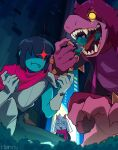1boy 1girl 1other animal_ears armband armor blue_hair body_fur cape city claws deltarune eating furry furry_female furry_male gloves glowing glowing_eye goat_boy goat_ears goat_horns highres holding horns kris_(deltarune) long_hair miamitu moss open_mouth pants pink_cape pink_scarf purple_hair purple_pants purple_shirt raised_eyebrow ralsei red_eyes scarf shaded_face sharp_teeth shirt short_hair susie_(deltarune) teeth white_gloves wristband yellow_eyes
