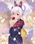 1girl :o animal_ears azur_lane bangs candy candy_apple commentary_request eating eyebrows_visible_through_hair fake_animal_ears food from_side hair_between_eyes hairband head_tilt holding holding_candy holding_food japanese_clothes kimono laffey_(azur_lane) laffey_(snow_rabbit_and_candied_apple)_(azur_lane) long_hair long_sleeves looking_at_viewer looking_to_the_side obi rabbit_ears red_eyes sash sidelocks solo twintails white_hair wide_sleeves yukata