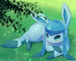 :p alopias aqua_eyes blurry blurry_foreground glaceon grass leaf lying no_humans on_stomach pokemon pokemon_(creature) shadow sidelocks tongue tongue_out