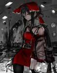 1girl bad_id bad_twitter_id bangs black_hair black_legwear bow brown_eyes camera camera_around_neck cookie_(touhou) cowboy_shot detached_sleeves dress floating_eye fumei_unknown hair_bow hair_over_one_eye hakurei_reimu holding holding_pen long_hair looking_at_viewer mask monochrome_background mouth_mask official_art pen red_bow red_dress signature sketch sleeveless sleeveless_dress solo stylus tablet_pc thigh-highs touhou very_long_hair white_sleeves yuyusu_(cookie)