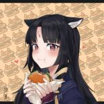 1girl animal_ear_fluff animal_ears arknights artist_name bangs black_hair blush braid brown_eyes burger dog_ears ears_down eating eyebrows_visible_through_hair facial_mark fingerless_gloves food food-themed_background food_on_face forehead_mark gloves hair_ribbon heart heart-shaped_pupils highres holding holding_food long_hair looking_at_viewer parted_bangs purple_gloves ribbon saga_(arknights) shoukkun25 side_braid signature solo symbol-shaped_pupils upper_body wrapper yellow_ribbon