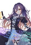 1girl bangs black_dress cross-laced_clothes dress eyebrows_visible_through_hair gradient_hair highres hijiri_byakuren holding holding_scroll juliet_sleeves layered_dress long_hair long_sleeves looking_at_viewer multicolored_hair open_mouth puffy_sleeves purple_hair red_eyes scroll simple_background solo sorcerer's_sutra_scroll standing touhou turtleneck_dress white_background white_dress yamanakaume