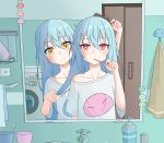 2others absurdres androgynous bangs bathroom blue_hair blush chinese_commentary closed_mouth comb commentary_request contemporary hair_between_eyes highres holding holding_comb holding_toothbrush indoors long_hair looking_at_viewer multiple_others orenji_(user_fknw7775) rimuru_tempest shirt short_sleeves smile tensei_shitara_slime_datta_ken toothbrush washing_machine white_shirt yellow_eyes