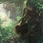 1boy 2girls aqua_hair armor azura_(fire_emblem) bangs bathing black_pants bracer circlet commentary_request completely_nude corrin_(fire_emblem) corrin_(fire_emblem)_(female) cousins covering_mouth dappled_sunlight dated_commentary day dirt eyebrows_visible_through_hair fire_emblem fire_emblem_fates forest grass greaves green_hair hair_between_eyes hand_on_own_arm harusame_(rueken) holding holding_clothes holding_scarf in_tree kaze_(fire_emblem) leaf long_hair long_sleeves looking_at_another looking_down multiple_girls nature ninja nude one_eye_closed outdoors own_hands_together pants parted_bangs partially_submerged pectoral_cleavage pectorals pond purple_scarf rock scarf scarf_over_mouth short_hair sidelocks silver_hair squatting sunlight sweatdrop tree tree_shade tsurime very_long_hair wading water waterfall wavy_hair wet wet_hair