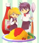 1boy 1girl apron bangs blonde_hair brown_apron buttons closed_mouth commentary_request food hand_on_hip holding holding_spoon interlocked_fingers ketchup_bottle long_hair miniboy minigirl omurice open_mouth own_hands_together pants pokemon pokemon_adventures ponytail red_(pokemon) shirt short_hair smile spoon tomato tongue waist_apron white_pants white_shirt yellow_(pokemon) yellow_eyes yui_ko