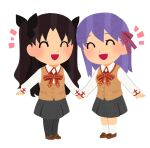 2girls bangs black_bow black_hair black_legwear black_skirt bow brown_footwear brown_vest chibi closed_eyes collared_shirt commentary_request cross_print eyebrows_visible_through_hair fate/stay_night fate_(series) hair_between_eyes hair_bow hair_ribbon highres holding holding_hands homurahara_academy_uniform loafers long_sleeves matou_sakura miniskirt multiple_girls neck_ribbon open_mouth pantyhose parody parted_bangs pink_ribbon purple_hair red_neckwear red_ribbon ribbon school_uniform shirt shoes siblings simple_background sisters skirt smile style_parody tohsaka_rin tsubuta_hiro two_side_up uniform vest white_background white_legwear white_shirt