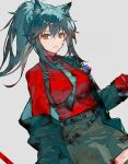 1girl animal_ears arknights bangs belt black_coat black_hair black_shorts blood blood_on_clothes blood_on_face breasts closed_mouth coat collared_shirt cowboy_shot dutch_angle ear_piercing gloves green_neckwear grey_background holding long_hair long_sleeves looking_at_viewer medium_breasts necktie official_alternate_costume open_clothes open_coat piercing ponytail qiqu red_eyes red_gloves red_shirt shirt shorts sidelocks simple_background solo texas_(arknights) texas_(willpower)_(arknights) wolf_ears