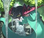 alu_drp claws cliff commentary_request day dragapult half-closed_eyes highres no_humans outdoors pokemon pokemon_(creature) tree water yellow_eyes