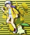 1girl :d baseball_cap belt belt_buckle blue_shirt brown_eyes brown_footwear buckle casey_(pokemon) chikorita clenched_hands commentary_request d-nezumi electabuzz eyelashes hand_up hat jacket leg_up long_hair looking_at_viewer no_socks open_mouth pokemon pokemon_(anime) pokemon_(classic_anime) pokemon_(creature) purple_hair shirt shoes shorts smile standing standing_on_one_leg striped tongue vertical-striped_shorts vertical_stripes white_headwear white_shorts yellow_jacket