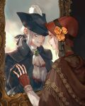 2girls ascot bangs black_headwear black_ribbon blood blood_on_clothes bloodborne bonnet brown_gloves cloak doll_joints fingerless_gloves flower gloves grey_eyes hair_ribbon hat hat_feather hat_flower highres jiro_(ninetysix) joints lady_maria_of_the_astral_clocktower long_hair long_sleeves looking_at_another low_ponytail mirror multiple_girls orange_flower plain_doll ponytail red_gloves red_headwear ribbon rose short_hair teeth tricorne
