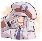 1boy blue_neckwear blush chiimako coat collared_shirt commentary_request emmet_(pokemon) gloves grey_eyes grey_hair hand_up hat long_sleeves male_focus necktie open_clothes open_coat open_mouth pokemon pokemon_(game) pokemon_bw salute shirt short_hair sideburns smile solo tongue upper_body white_coat white_headwear white_shirt