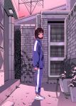 1girl alley brick_wall bright_pupils door expressionless full_body house ji_yeong long_sleeves looking_at_viewer looking_to_the_side myon_(tokipi) plant pot radio_antenna shadow short_hair solo sportswear squid_game sweatshirt tsurime unzipped wall white_pupils
